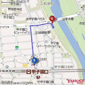 甲子園口駅からのルートマップ