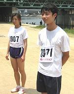 左;女子5Km優勝の田中美香さん、右;男子優勝の黒川雄司さん